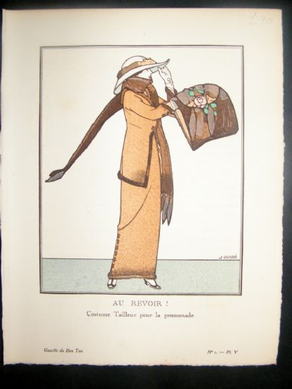 Gazette du Bon Ton by Gose 1912 Art Deco Pochoir. Au Revoir | Albion Prints
